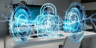 Vit och digital firewall som flyger över den skrivbords- tolkningen 3D Royaltyfri Bild