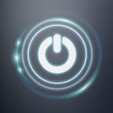 Vit och glödande tolkning för symbol 3D för blåttströmbrytaremakt Fotografering för Bildbyråer