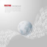 Vit- och grå färgbakgrund med världskartan Fotografering för Bildbyråer