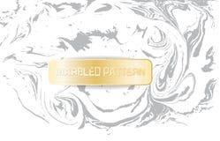 Vit- och grå färgmarmormodell Ljus marmorera textur Dekorativ marmorerad bakgrund med det guld- banret vektor Fotografering för Bildbyråer