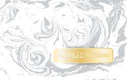 Vit- och grå färgmarmormodell Ljus marmorera textur Dekorativ marmorerad bakgrund med det guld- banret vektor Arkivfoton