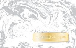 Vit- och grå färgmarmormodell Ljus marmorera textur Dekorativ marmorerad bakgrund med det guld- banret vektor Arkivbilder