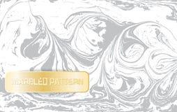 Vit- och grå färgmarmormodell Ljus marmorera textur Dekorativ marmorerad bakgrund med det guld- banret vektor Arkivfoto