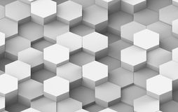 Vit och Grey Hexagon Background Texture 3d framför Royaltyfri Bild