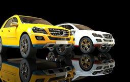 Vit och guling SUVs Arkivbilder