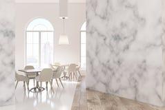 Vit- och marmorrestauranginre Royaltyfri Fotografi
