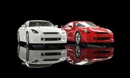 Vit och röd bil på svart bakgrund Royaltyfri Bild