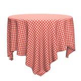 Vit och röd torkduk för rund tabell stock illustrationer