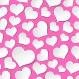 Vit och rosa sömlös modell med valentinhjärtor eps10 stock illustrationer