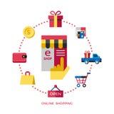 Vit online-shopping för Digital vektor royaltyfri illustrationer