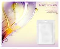 Vit packe på färgvågbakgrund Påse för skönhetsmedel och parfymeriaffär vektor illustrationer