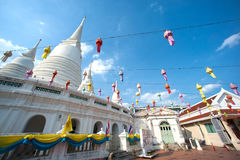 Vit pagod på den forntida templet i Bangkok Royaltyfri Foto