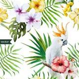 Vit papegoja, hibiskus som är tropisk, palmträd, blommor, modell, tapet Arkivbild