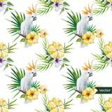 10 vit papegoja, hibiskus som är tropisk, palmträd, blommor, modell, tapet Royaltyfria Bilder