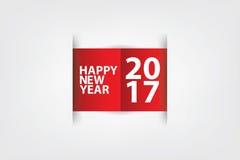 Vit pappersskrapa för lyckligt nytt år som är röd och Fotografering för Bildbyråer