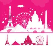 Vit Paris kontur på rosa bakgrund Loppbakgrund, idérikt baner Royaltyfria Bilder