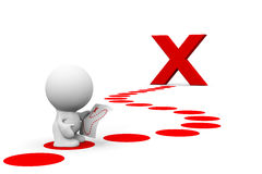 Vit person som 3d läser en skattöversikt för att nå ett stort rött X Royaltyfri Fotografi