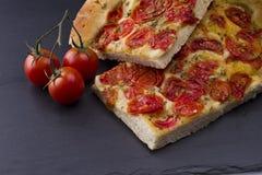 Vit pizza med tomater Arkivbilder