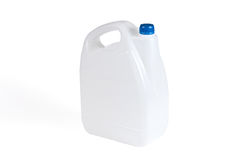 Vit plast- bensindunk Arkivbild