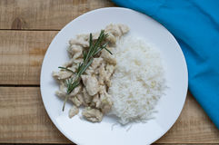 Vit platta med ris och skivade fega bröst fotografering för bildbyråer