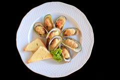 Vit platta med stora musslor som stekas med ost och rostat bröd Royaltyfri Fotografi