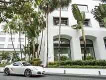 Vit Porsche royaltyfri fotografi