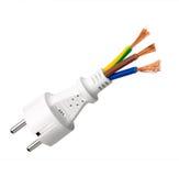 Vit propp för elektrisk kabel Arkivfoto