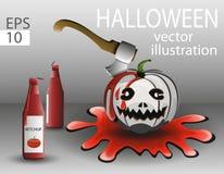 Vit pumpa på allhelgonaafton med en yxa och en ketchup i blodet Royaltyfri Foto