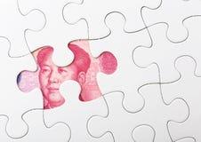 Vit pussel- och kinessedel Arkivbild