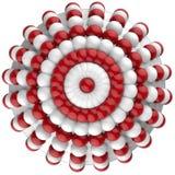 Vit röd cirkelmodell royaltyfri illustrationer