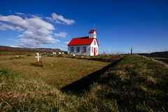 Vit-röd kyrka, Island Arkivbild