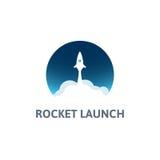 Vit raket med molnet och blå himmel, cirkelsymbol i plan stil, vektorillustration Arkivbilder