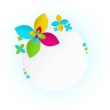 Vit ram med den flerfärgade blomman Arkivfoto