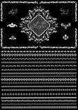 Vit ram och gräns för designsidor på en svart bakgrund Arkivfoto