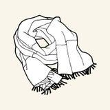 Vit randig halsduk för svart & med frans stock illustrationer