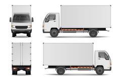 Vit realistisk leveranslastlastbil Lastbil för annonsering av sidan, främre och bakre sikt som isoleras på vit bakgrund vektor illustrationer