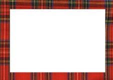 Vit rektangel med ramen med texturen av den berömda tartan royaltyfria foton