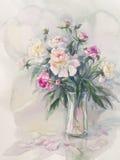 Vit rosa pionbukettvattenfärg Royaltyfria Bilder