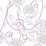 Vit rosa pionvektor för sömlös modell royaltyfri illustrationer