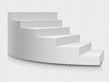 Vit rund stege 3d Framgång för för vektortrappuppgång eller trappa upp till på genomskinlig bakgrund royaltyfri illustrationer