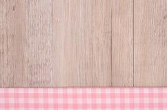 Vit rutig torkduk för rosa färger och Arkivfoto