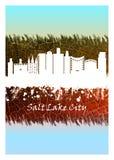 Vit Salt Lake City horisont som är blå och stock illustrationer