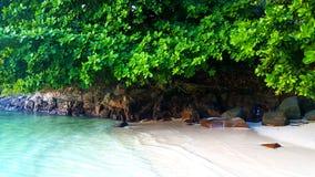 Vit sand för Seychellerna strand längs vägen arkivfoton