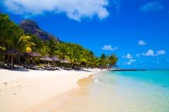 Vit sandig strand med paraplyer Mauritius Royaltyfri Fotografi