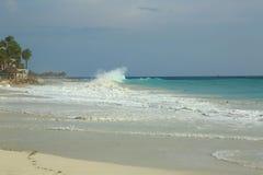 Vit sandstrand för fantastisk skönhet av den Aruba ön Turkoshavsvatten och blå himmel Royaltyfri Bild