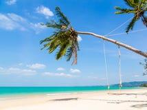 Vit sandstrand och palmträd arkivbilder