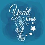 Vit Seahorse för bokstäveryachtklubba Royaltyfria Foton