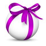 Vit sfär 3D med härliga slågna in Violet Ribbon Gift Packag stock illustrationer