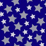 Vit silver för julstjärnor på mörker - blå nattbakgrundsseaml stock illustrationer