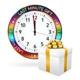 Vit sista minimal gåva - klocka med den färgrika gränsen stock illustrationer